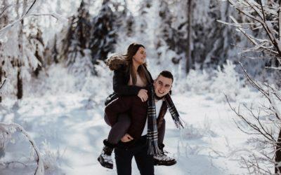 Zimowa sesja narzeczeńska-Diana & Grzegorz
